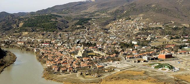 Mtskheta panorama with the Svetitskhoveli cathedral January 2013